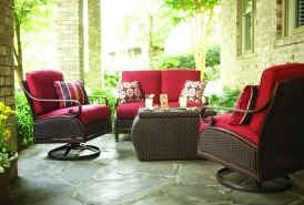 Martha Stewart Living Cedar Island 4-Piece Wicker loveseat and swivel rocker Patio Cushions